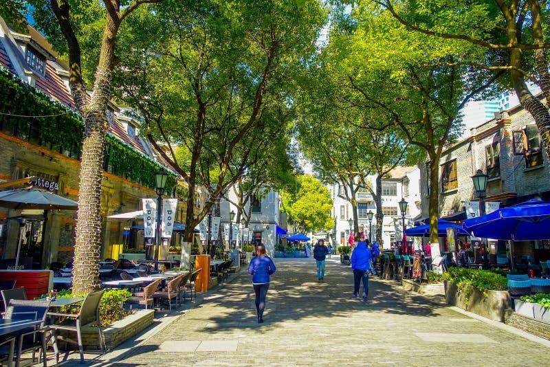 SHANGHAI, CHINA - 29 DE JANEIRO DE 2017: Andando em torno do distrito francês da concessão de Shanghai, destino popular para fotos de stock royalty free