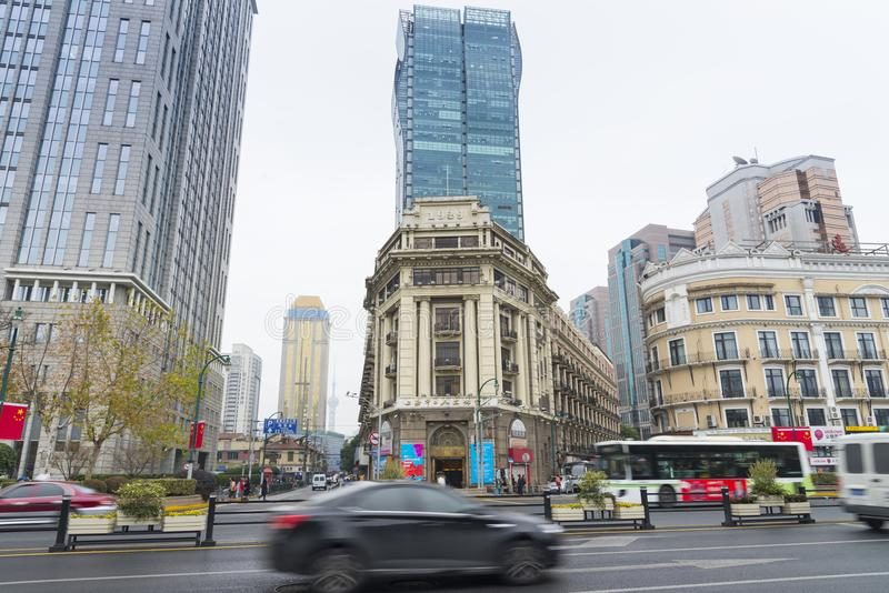 SHANGHAI, CHINA - Dec. 28, 2017: Historical architecture on East royalty free stock image