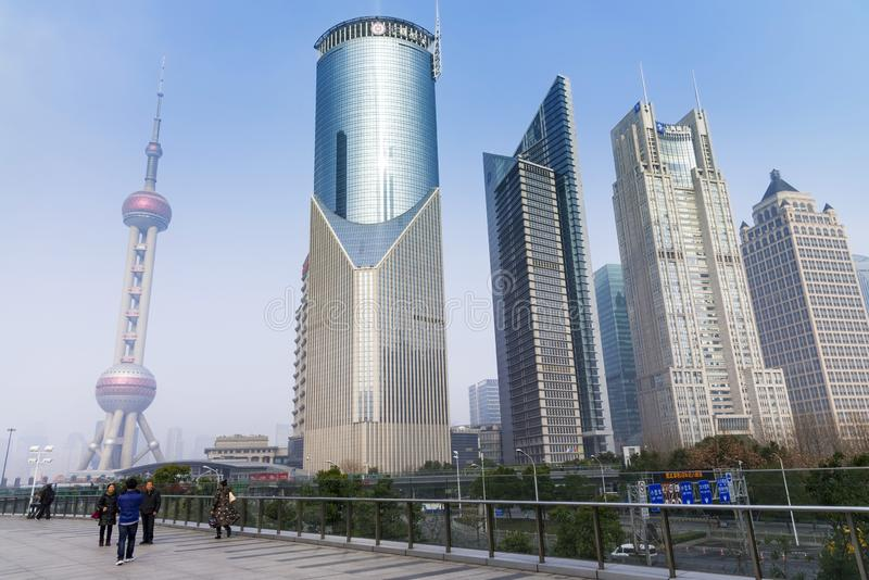 SHANGHAI, CHINA - DEC. 31, 2017: Oriental Pearl Tower and modern Shanghai architecture skyline of Pudong district, Oriental Pearl royalty free stock image