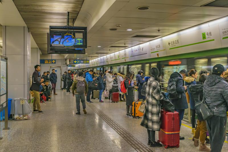 People Waiting for the Train at Subway, Shanghai, China stock image