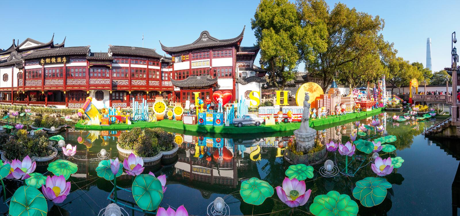 Shanghai, China - Jan. 26, 2019: Lantern Festival in Chinese New Year Pig year, colorful lifestyle and city scape lanterns. On the lake in Yuyuan Garden royalty free stock photography