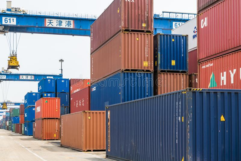 Tianjin China - on Jul 04, 2016:Scene of Tianjin port container freight terminal royalty free stock image