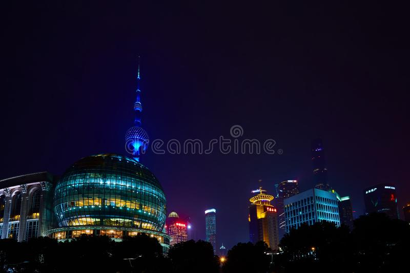 Shanghai, China - March 12, 2016: Oriental Pearl TV Tower and commercial buildings located in the Lujiazui financial. District at night royalty free stock photos