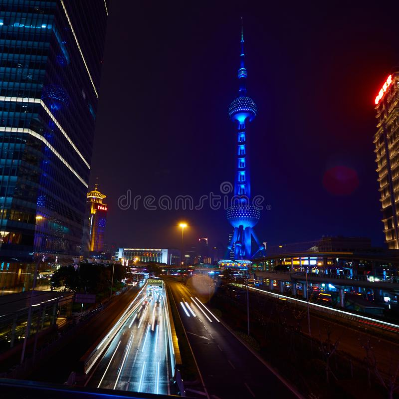 Shanghai, China - March 12, 2016: Oriental Pearl TV Tower and commercial buildings located in the Lujiazui financial. District at night royalty free stock photo