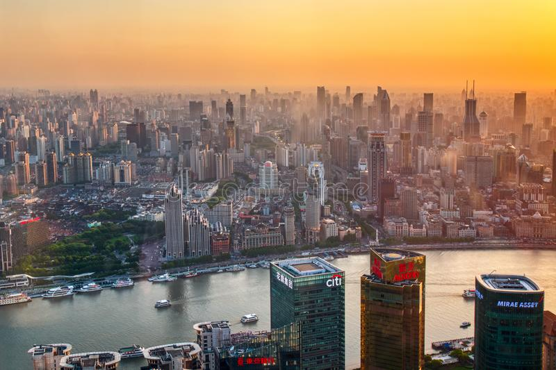 Shanghai, China - May, 2018: Aerial view of Shanghai skyline at sunset stock image