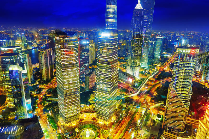 SHANGHAI, CHINA - MAY 24, 2015: Beautiful and office skyscrapers royalty free stock photography