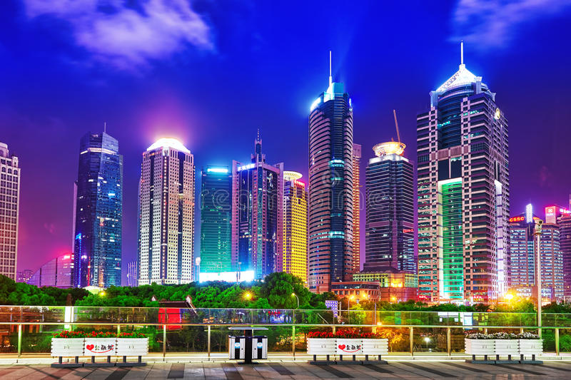 SHANGHAI, CHINA - MAY 24, 2015: Beautiful and office skyscrapers stock photography
