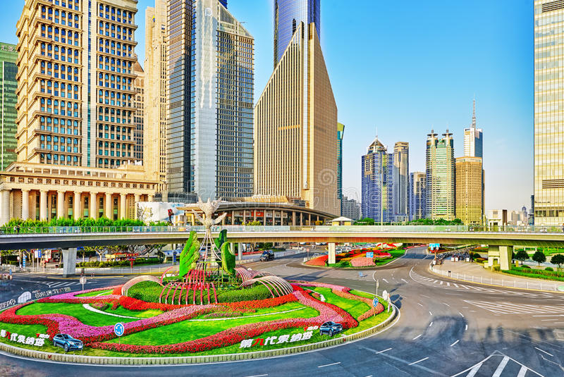 SHANGHAI, CHINA- MAY, 24, 2015: Beautiful skyscrapers, city buil stock photography