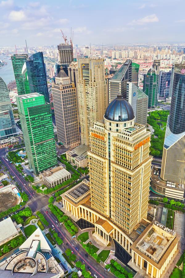 SHANGHAI, CHINA- MAY, 24, 2015: Beautiful skyscrapers, city buil royalty free stock photos