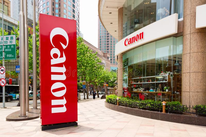 Shanghai, China - May, 2019: Canon logotype sign board at the entrance to the Canon shop in Shanghai, China.  royalty free stock image