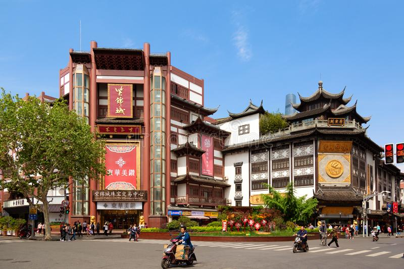 Shanghai, China - May, 2019: Chinese style historical buildings in the area of Yuyuan Garden in Shanghai, China. Old Shanghai. Street stock image