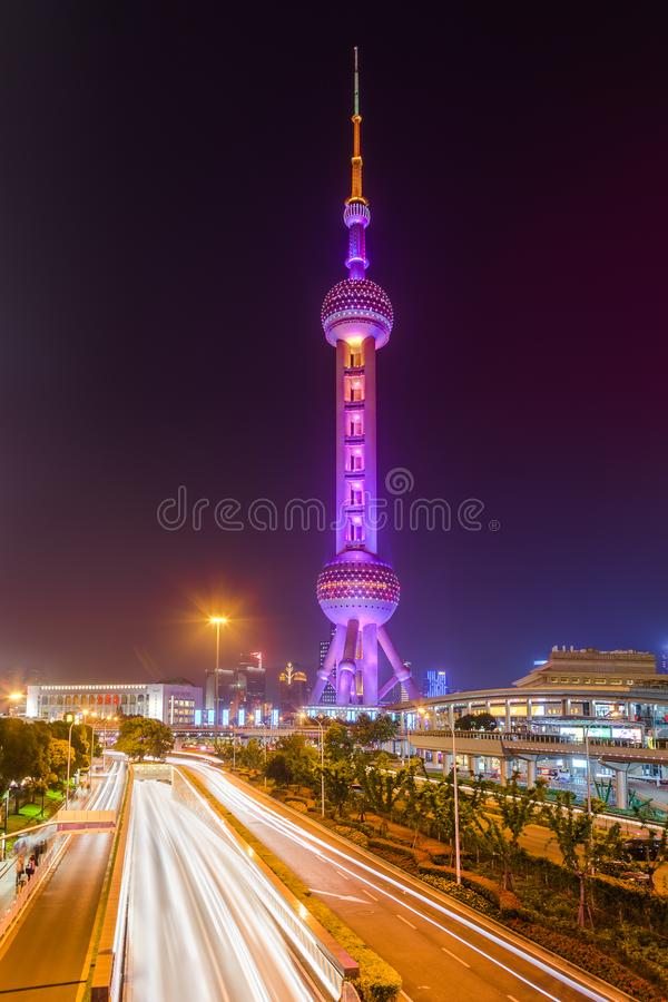 Shanghai, China - May 23, 2018: A night view to the TV tower Oriental Pearl in Shanghai, China stock photography