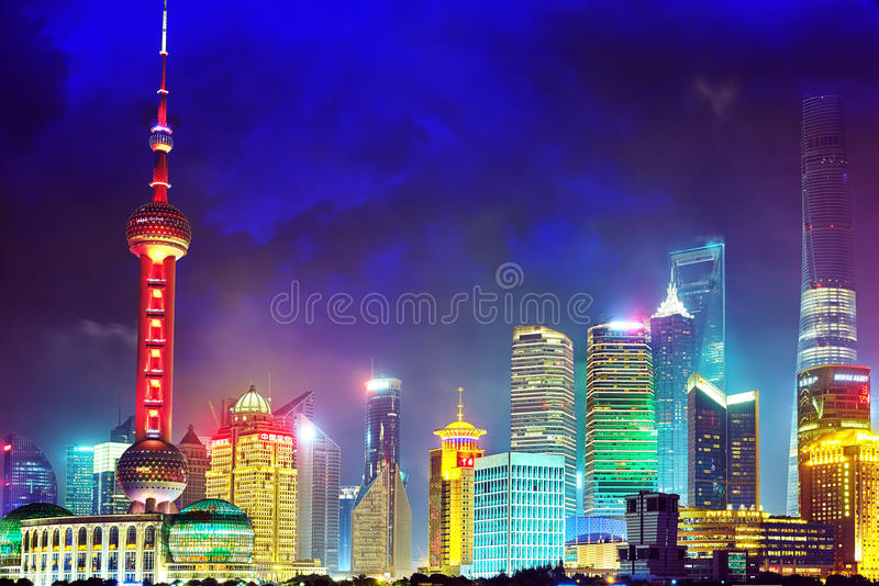 SHANGHAI, CHINA - MAY 24, 2015:Skyline night view from Bund wat royalty free stock photos