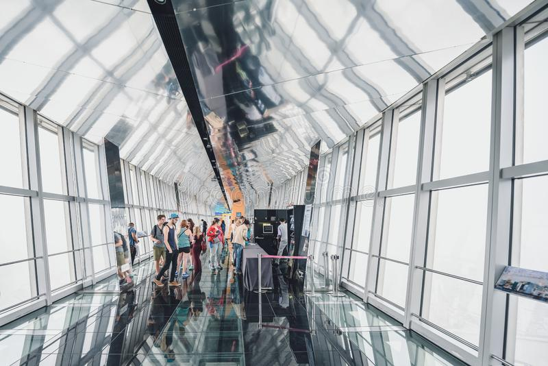 Shanghai World Financial Center building Observatory. SHANGHAI, CHINA - MAY 07, 2016: Tourists in Shanghai World Financial Center building Observatory royalty free stock photos