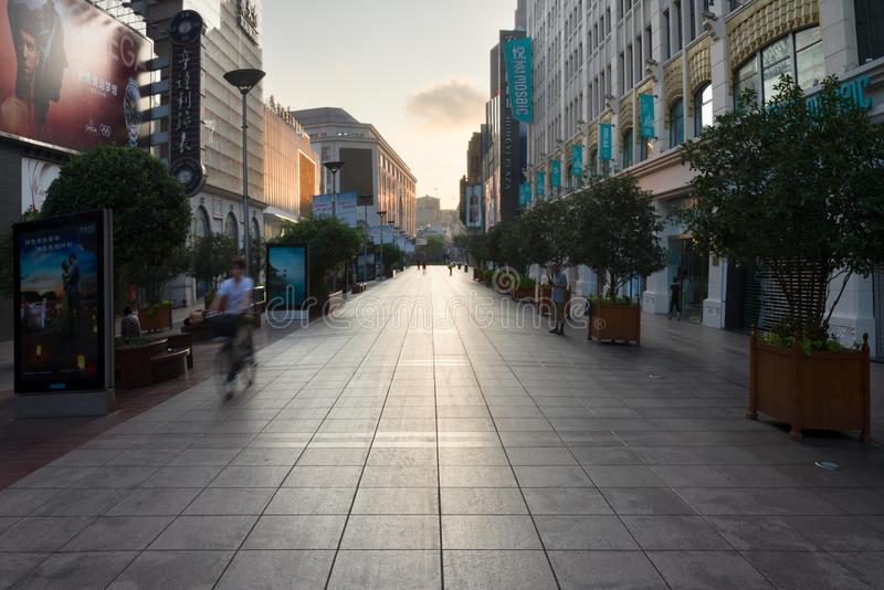 Shanghai, China - 08 12 2016: Nanjing Road is the main shopping street of Shanghai, one of the world`s busiest commercial streets. In China royalty free stock images