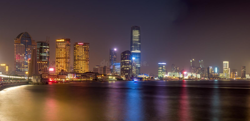 On The Bund - Shanghai City skyline by night royalty free stock photos