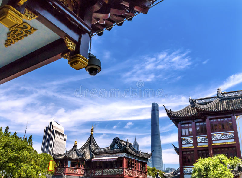 Shanghai China Old and New Shanghai Tower and Yuyuan Garden stock images