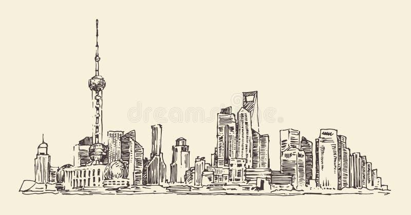 Shanghai, China, stadsarchitectuur, uitstekende illustratie, gegraveerde retro stijl, getrokken hand, schets, royalty-vrije illustratie