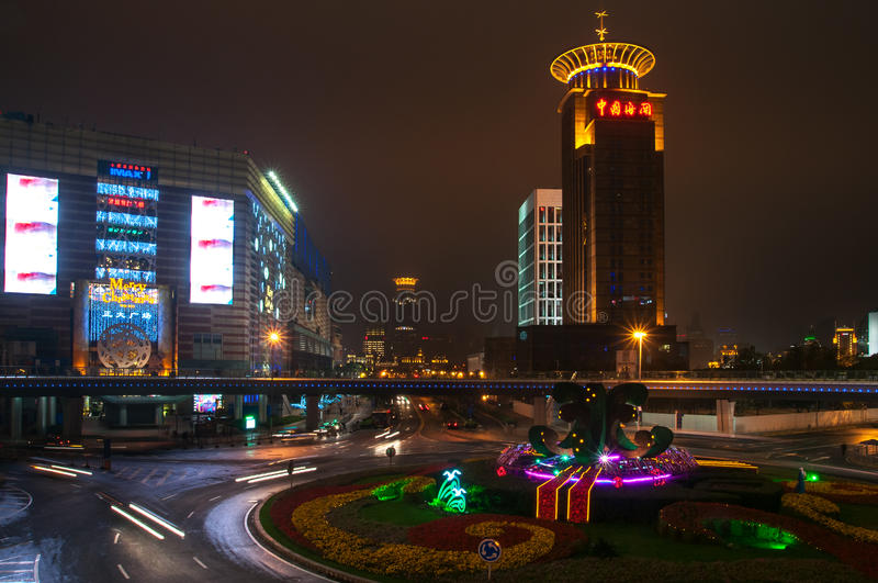 Shanghai, China - 2012.11.25: View of the area near the TV tower `Oriental pearl`. Shanghai is one of the main business and touris royalty free stock image
