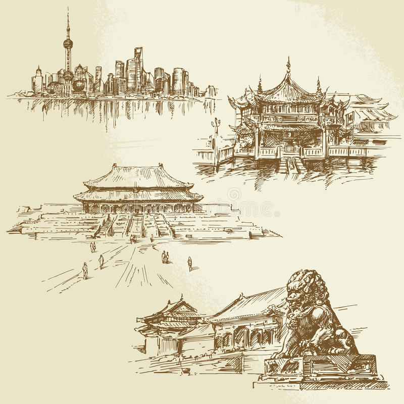Shanghai - chinese heritage vector illustration