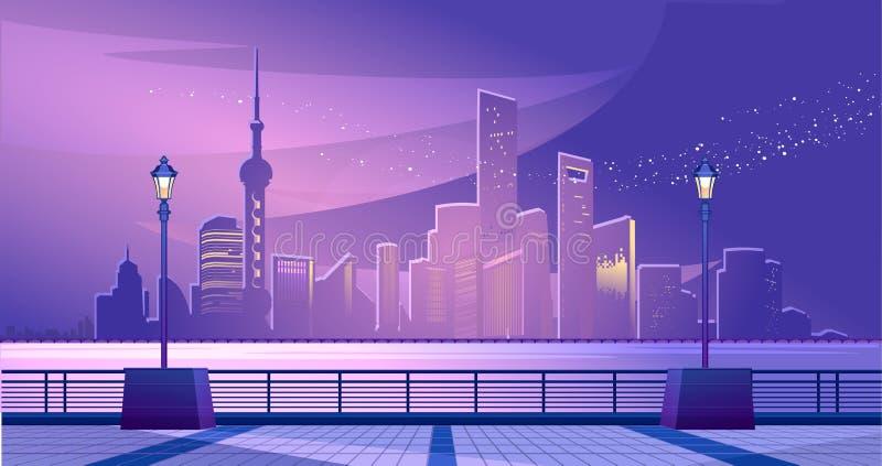 Shanghai city embankment stock illustration