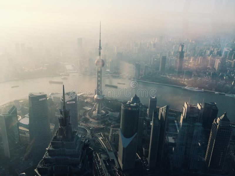 Shanghai City Fog royalty free stock image