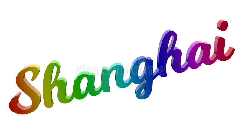 Shanghai City Name Calligraphic 3D Rendered Text Illustration Colored With RGB Rainbow Gradient. Isolated On White Background royalty free illustration
