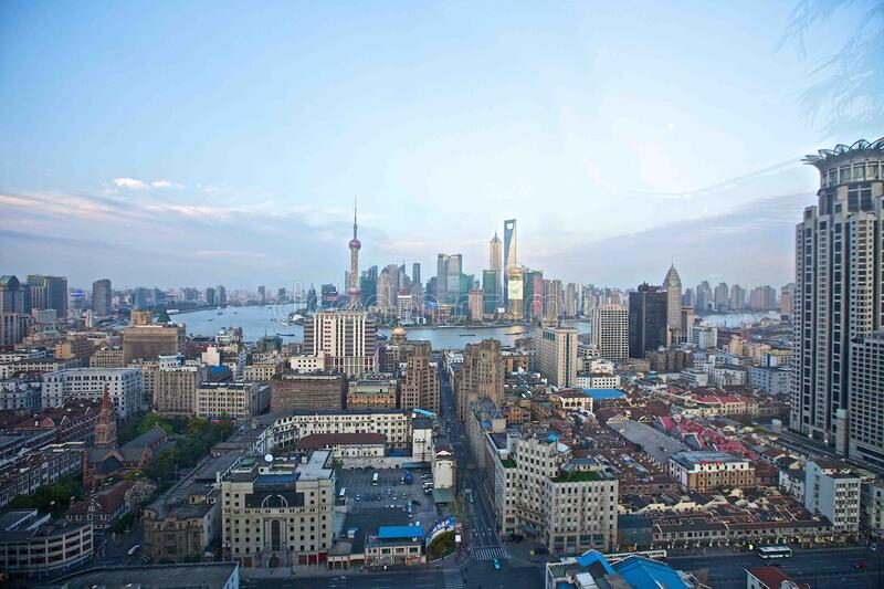 Shanghai city scape royalty free stock photography
