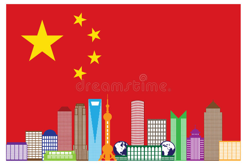 Shanghai City Skyline in China Flag Vector Illustration stock illustration