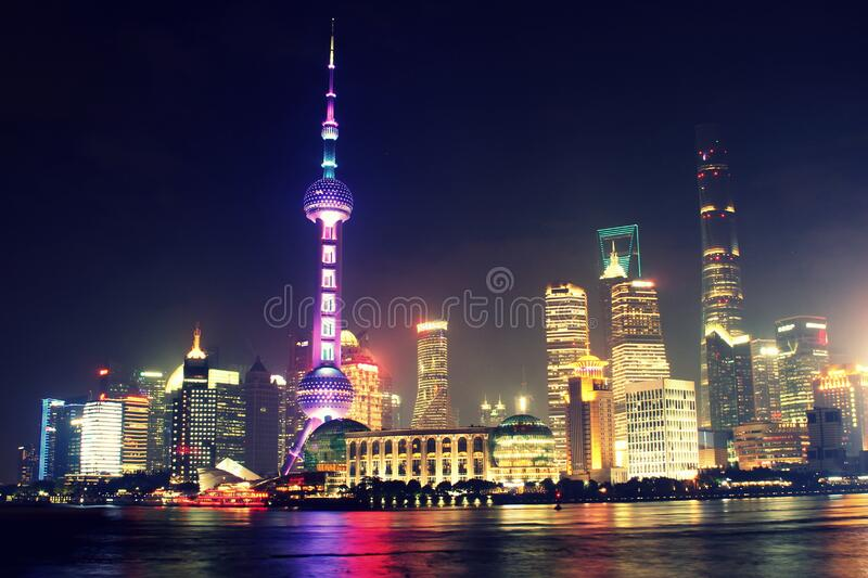 Shanghai city skyline at night royalty free stock image