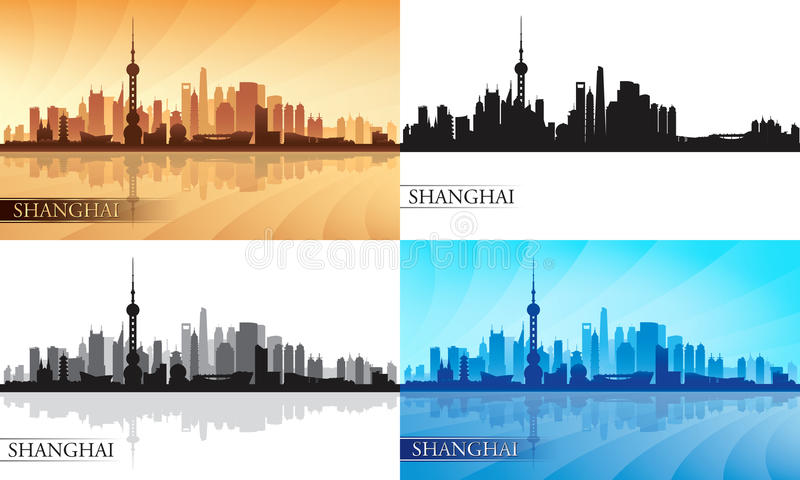 Shanghai city skyline silhouette set stock illustration