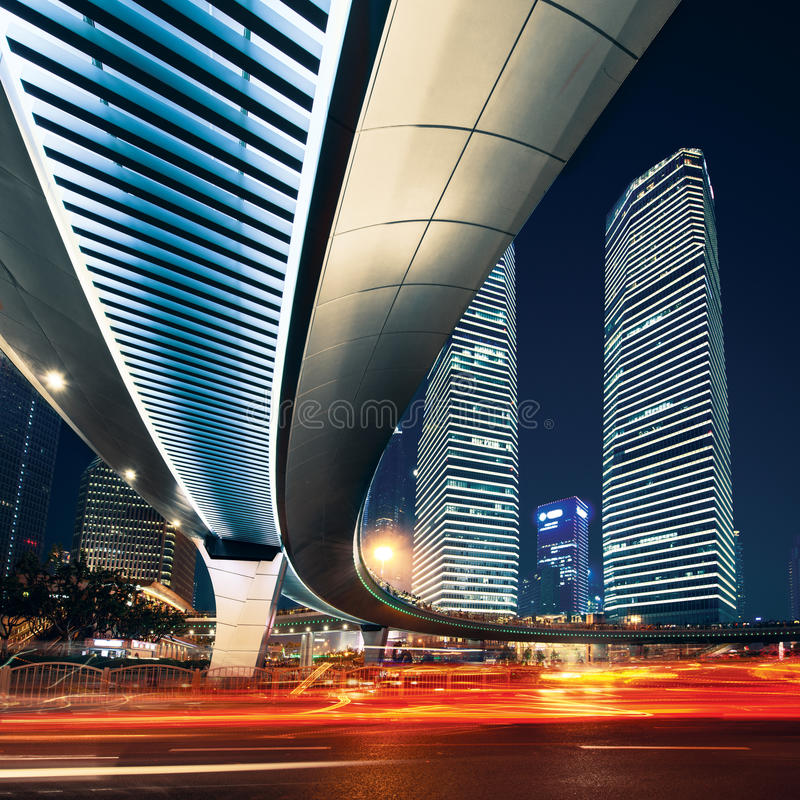 Shanghai City at sunset with light trails.  stock image