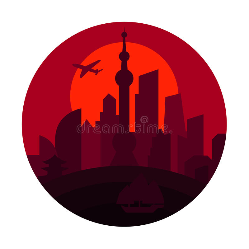 Free Shanghai City The Shadow China Building Sunset Red Royalty Free Stock Photo - 63233465