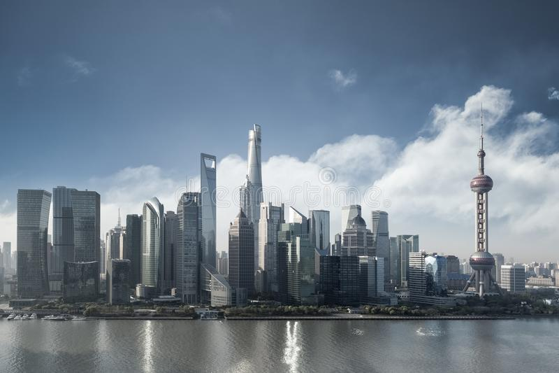 Shanghai cityscape in morning. Financial center buildings closeup with blue sky royalty free stock photo