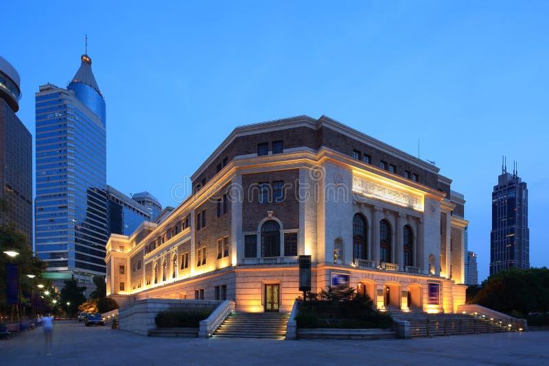 Shanghai Concert Hall. Night under the Shanghai Concert Hall stock image