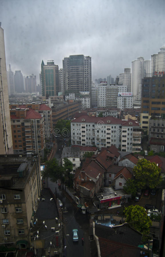 Shanghai contrasts between highrise and slum royalty free stock photos