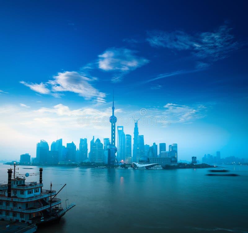 Shanghai in daybreak stock photo