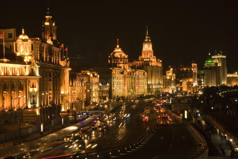 Shanghai de Dijk bij Nacht royalty-vrije stock afbeeldingen