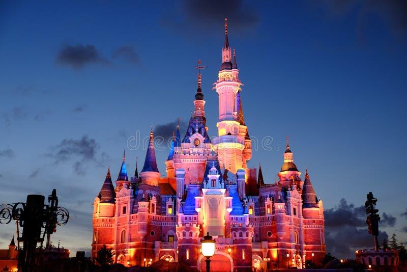 Shanghai Disney Castle. At night stock images