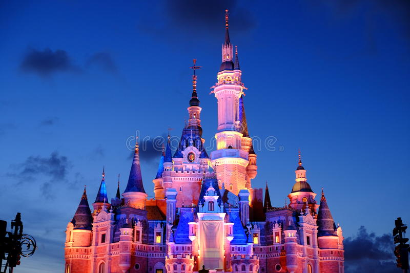 Shanghai Disney Castle. At night royalty free stock images
