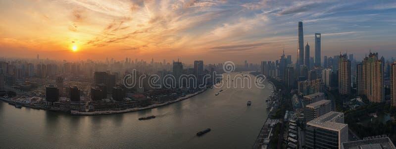 Shanghai dusk scene. Shanghai skyline of highrise buildings and community during the dusk period stock photography