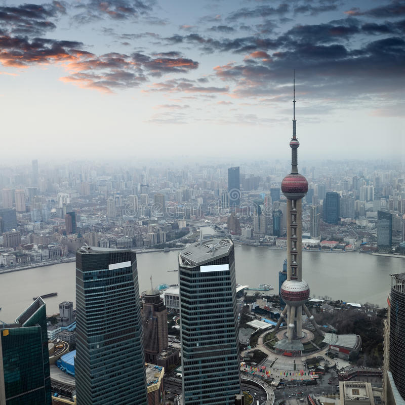 Download Shanghai At Dusk With Sunset Glow Stock Image - Image: 24058213