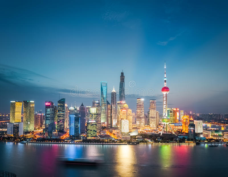 Shanghai financial district skyline in nightfall royalty free stock photos