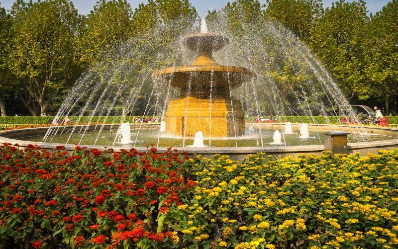 Shanghai fountain in the park stock photos