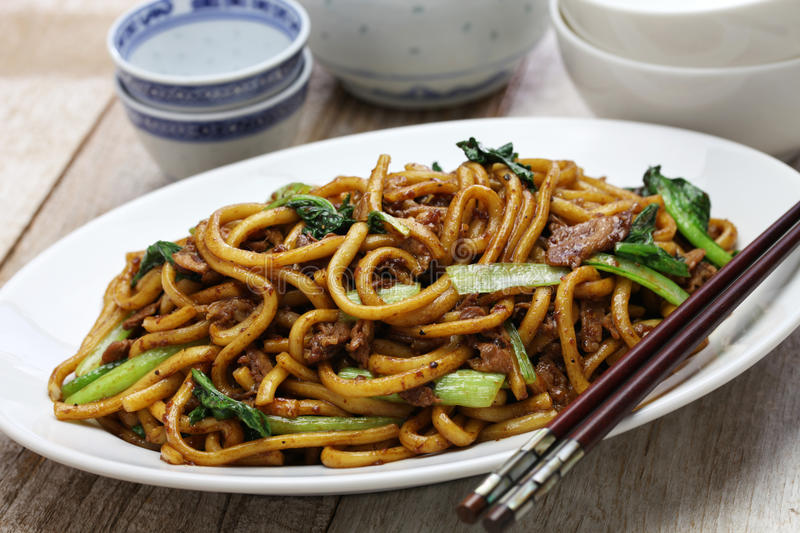 Shanghai fried noodle, Shanghai chow mein. Chinese food stock photos