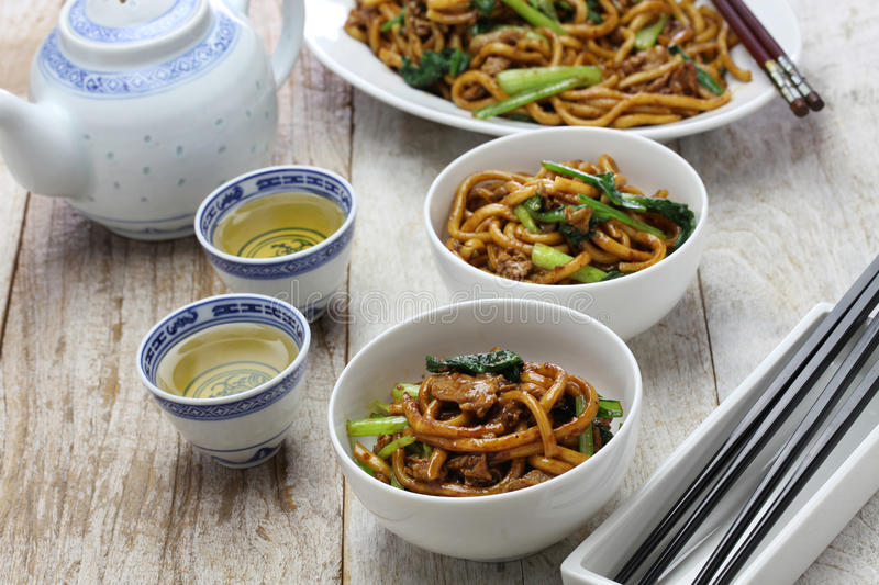 Shanghai fried noodle, Shanghai chow mein. Chinese food stock photography