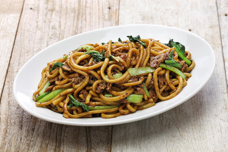 Shanghai fried noodle, Shanghai chow mein. Chinese food stock images