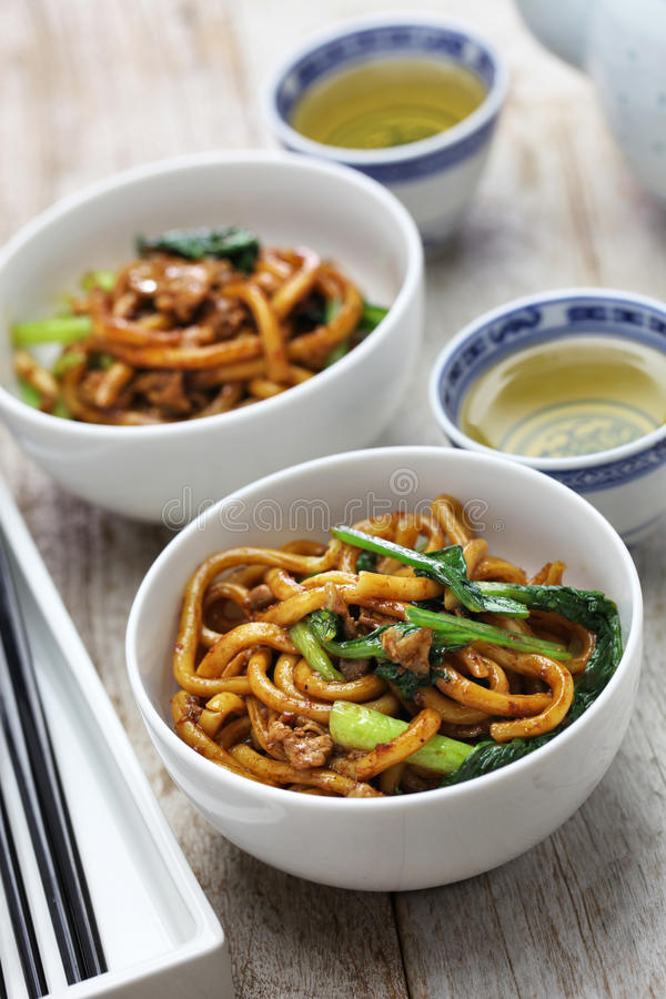 Shanghai fried noodle, Shanghai chow mein. Chinese food royalty free stock image
