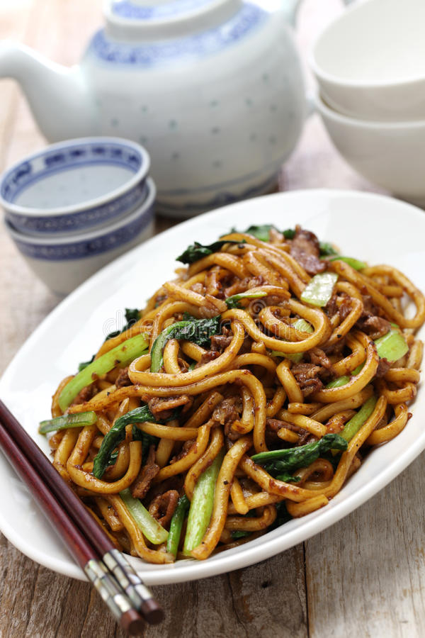 Shanghai fried noodle, Shanghai chow mein. Chinese food royalty free stock images