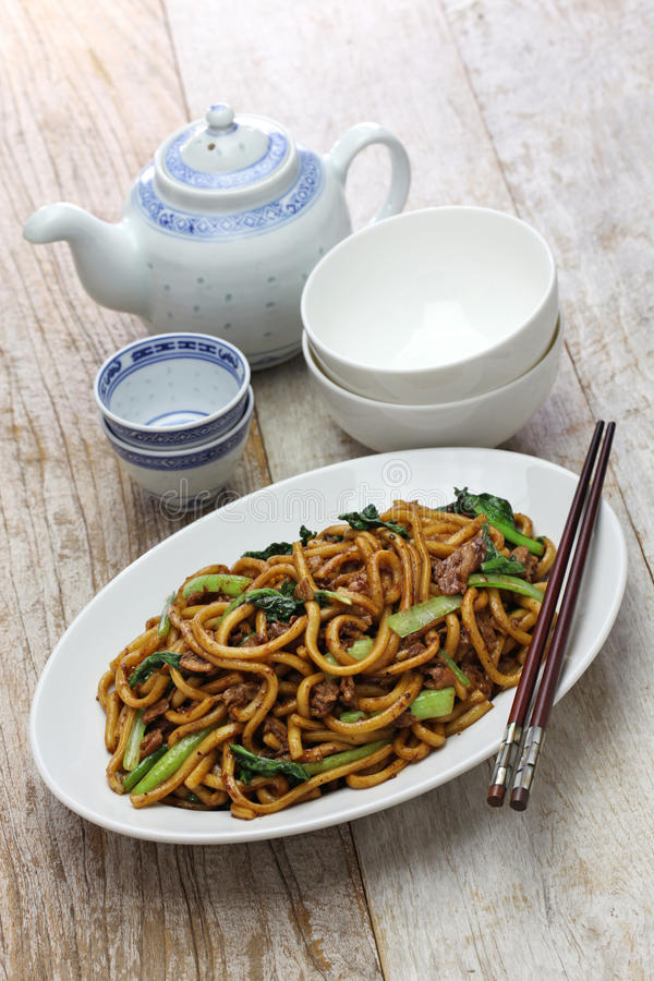 Shanghai fried noodle, Shanghai chow mein. Chinese food royalty free stock photography